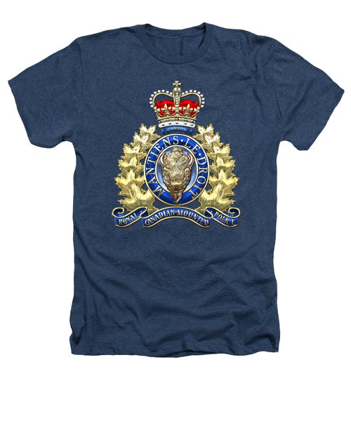 Royal Canadian Mounted Police - Rcmp Badge On Black Leather Heathers T-Shirt by Serge Averbukh