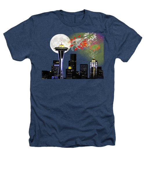 Seattle Skyline Heathers T-Shirt by Methune Hively