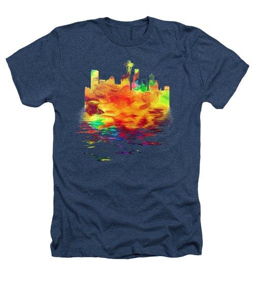 Seattle Skyline, Orange Tones On Black Heathers T-Shirt by Pamela Saville
