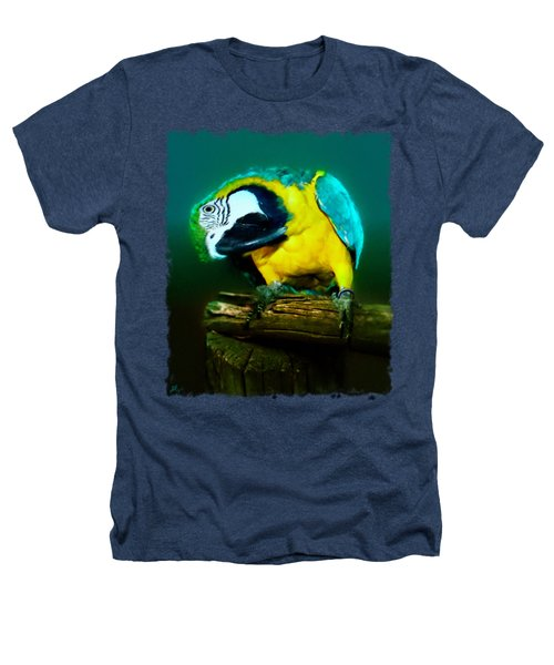 Silly Maya The Macaw Parrot Heathers T-Shirt by Linda Koelbel