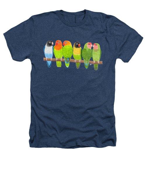 Six Lovebirds Heathers T-Shirt by Rita Palmer
