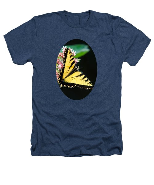 Swallowtail Butterfly And Milkweed Flowers Heathers T-Shirt by Christina Rollo