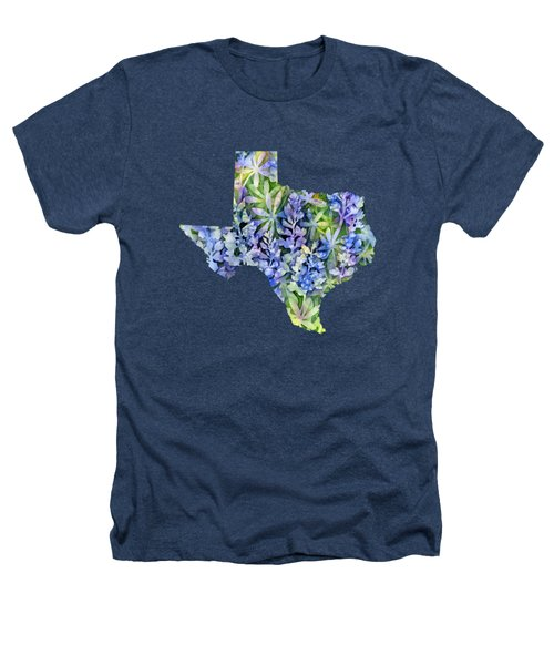 Texas Blue Texas Map On White Heathers T-Shirt by Hailey E Herrera