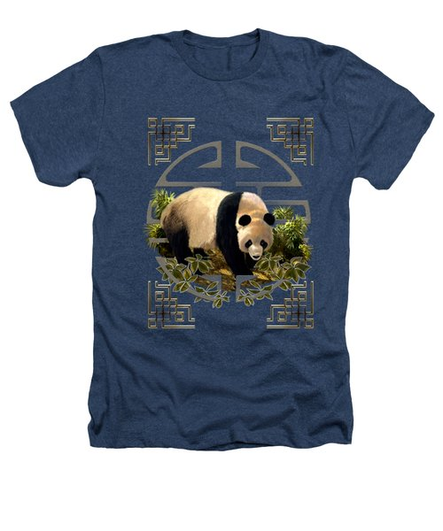 The Panda Bear And The Great Wall Of China Heathers T-Shirt by Regina Femrite
