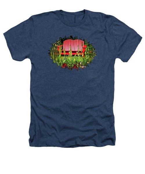 The Red Garden Bench Heathers T-Shirt by Thom Zehrfeld