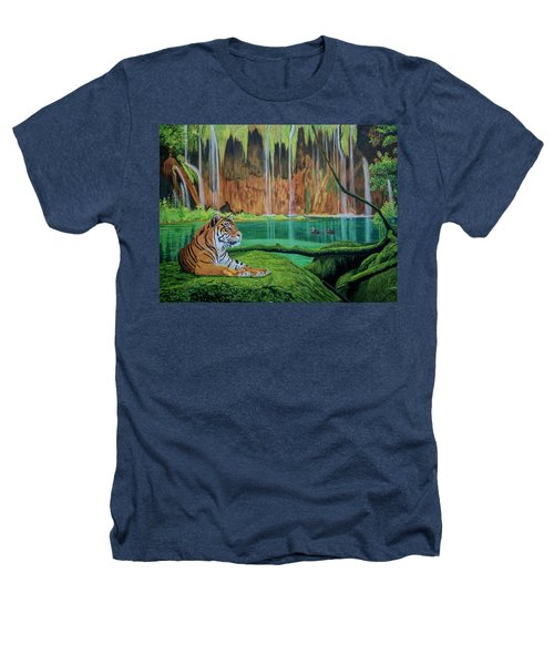 Tiger At The Waterfall  Heathers T-Shirt by Manuel Lopez