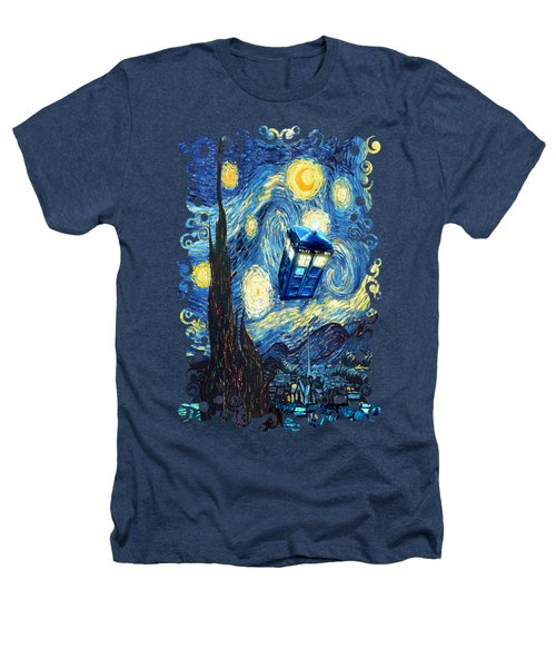 Weird Flying Phone Booth Starry The Night Heathers T-Shirt by Three Second