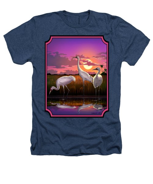 Whooping Cranes Tropical Florida Everglades Sunset Birds Landscape Scene Purple Pink Print Heathers T-Shirt by Walt Curlee