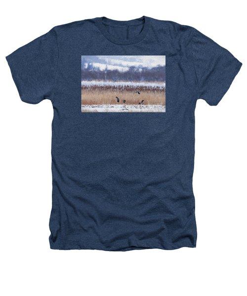 Winter Lapwings Heathers T-Shirt by Liz Leyden