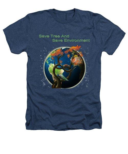 World Needs Tree Heathers T-Shirt by Artist Nandika  Dutt
