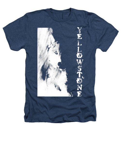 Yellowstone Wolf T-shirt Heathers T-Shirt by Max Waugh