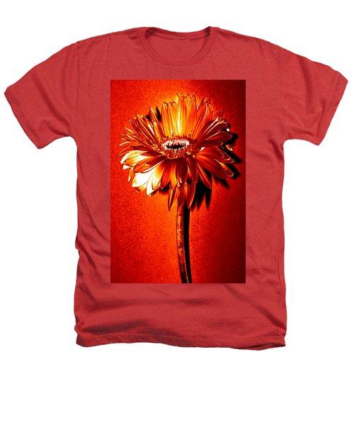 Tequila Sunrise Zinnia Heathers T-Shirt by Sherry Allen