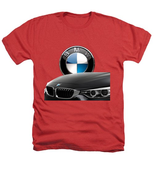 Black B M W - Front Grill Ornament And 3 D Badge On Red Heathers T-Shirt by Serge Averbukh