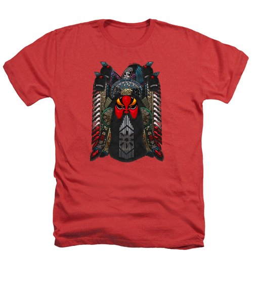 Chinese Masks - Large Masks Series - The Red Face Heathers T-Shirt by Serge Averbukh