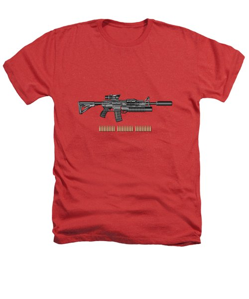Colt  M 4 A 1  S O P M O D Carbine With 5.56 N A T O Rounds On Red Velvet  Heathers T-Shirt by Serge Averbukh
