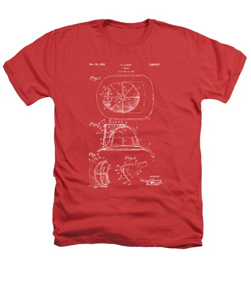 1932 Fireman Helmet Artwork Red Heathers T-Shirt by Nikki Marie Smith
