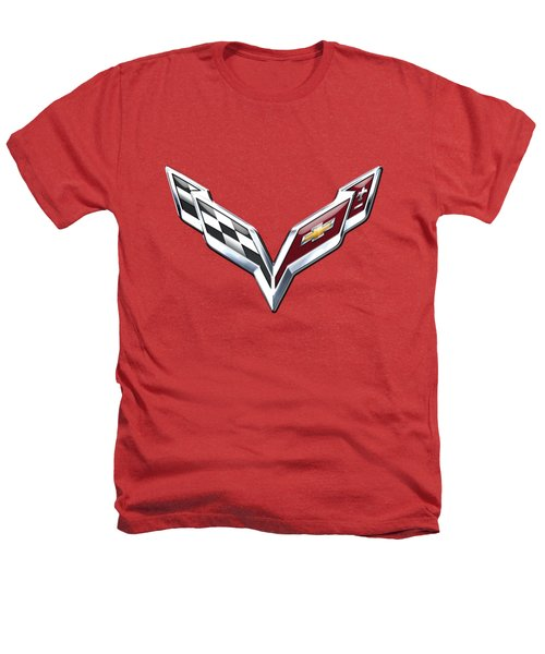 Chevrolet Corvette - 3d Badge On Red Heathers T-Shirt by Serge Averbukh