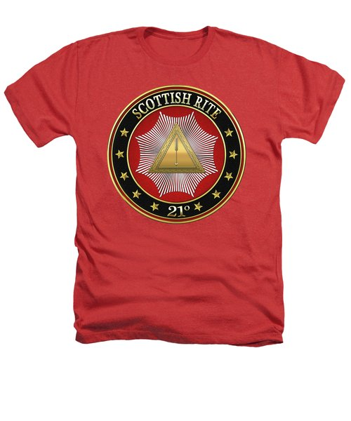 21st Degree - Noachite Or Prussian Knight Jewel On Red Leather Heathers T-Shirt by Serge Averbukh