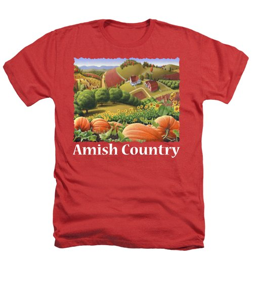 Amish Country T Shirt - Appalachian Pumpkin Patch Country Farm Landscape 2 Heathers T-Shirt by Walt Curlee