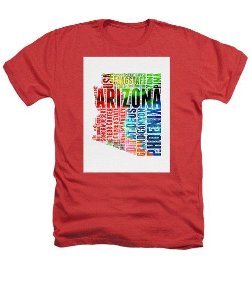 Arizona Watercolor Word Cloud Map  Heathers T-Shirt by Naxart Studio