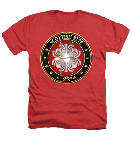 22nd Degree - Knight Of The Royal Axe Jewel On Red Leather Heathers T-Shirt by Serge Averbukh