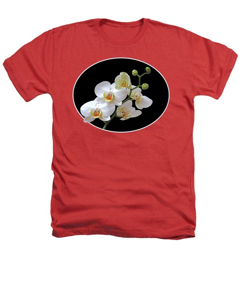 Orchids On Black And Red Heathers T-Shirt by Gill Billington