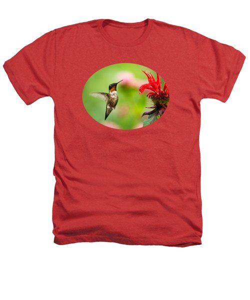 Male Ruby-throated Hummingbird Hovering Near Flowers Heathers T-Shirt by Christina Rollo