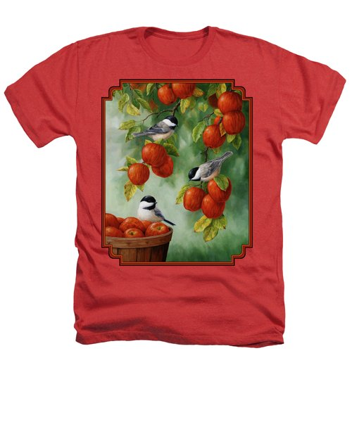 Bird Painting - Apple Harvest Chickadees Heathers T-Shirt by Crista Forest