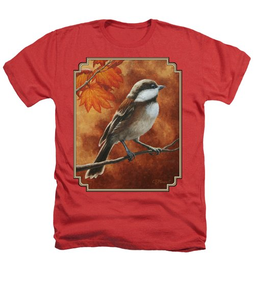 Autumn Chickadee Heathers T-Shirt by Crista Forest