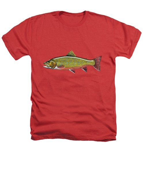Brook Trout On Red Leather Heathers T-Shirt by Serge Averbukh