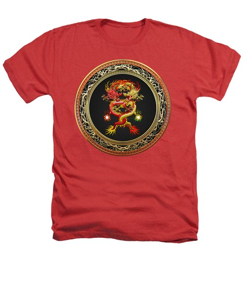 Brotherhood Of The Snake - The Red And The Yellow Dragons On Red Velvet Heathers T-Shirt by Serge Averbukh