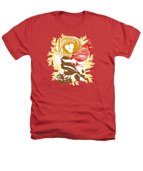 Cardinal Chickadee Birds Nest With Eggs Heathers T-Shirt by Christina Rollo
