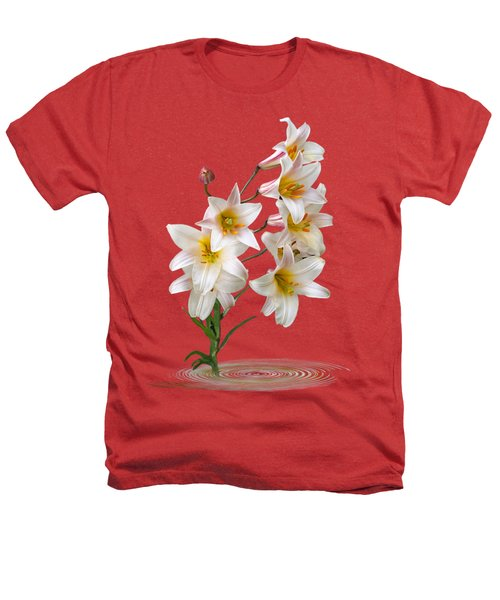Cascade Of Lilies On Black Heathers T-Shirt by Gill Billington