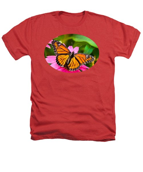 Colorful Butterflies - Orange Viceroy Butterfly Heathers T-Shirt by Christina Rollo