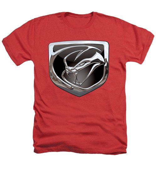 Dodge Viper - 3d Badge On Red Heathers T-Shirt by Serge Averbukh