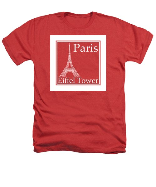 Eiffel Tower In White - Inverse  Heathers T-Shirt by Custom Home Fashions