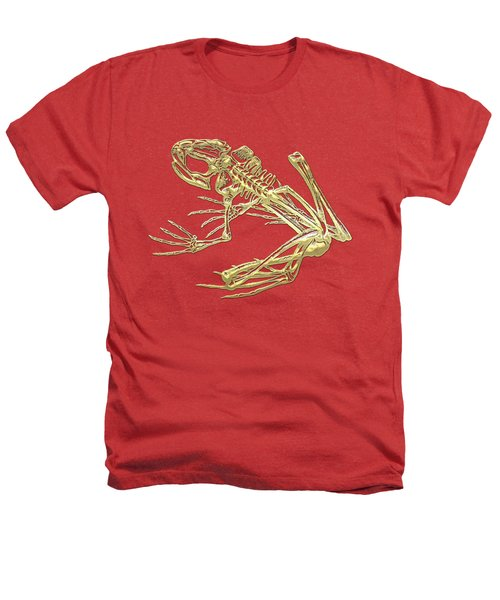 Frog Skeleton In Gold On Red  Heathers T-Shirt by Serge Averbukh