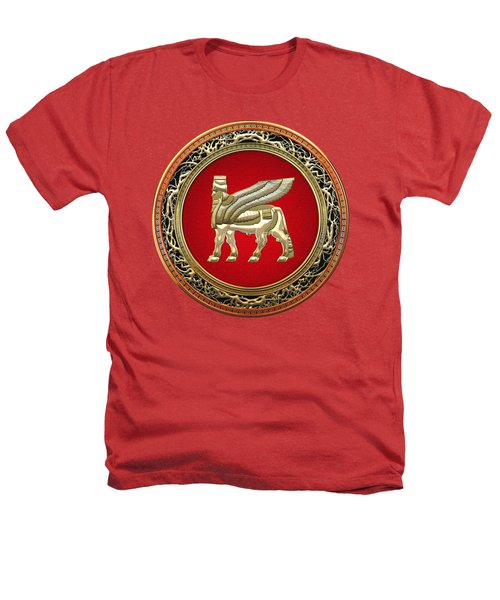 Golden Babylonian Winged Bull  Heathers T-Shirt by Serge Averbukh