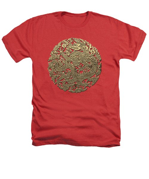 Golden Chinese Dragon On Red Leather Heathers T-Shirt by Serge Averbukh