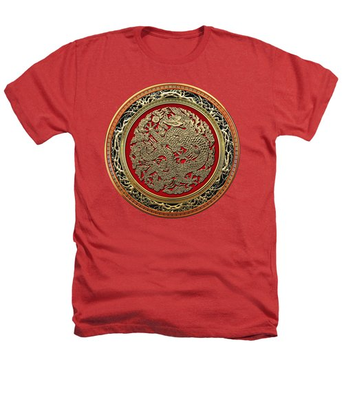 Golden Chinese Dragon On Red Velvet Heathers T-Shirt by Serge Averbukh
