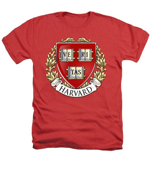 Harvard University Seal - Coat Of Arms Over Colours Heathers T-Shirt by Serge Averbukh