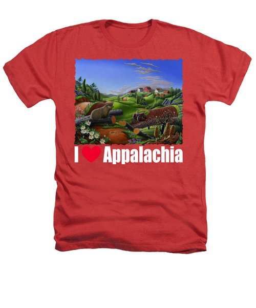 I Love Appalachia T Shirt - Spring Groundhog - Country Farm Landscape Heathers T-Shirt by Walt Curlee