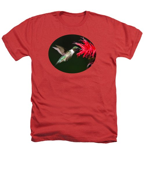 Male Ruby-throated Hummingbird With Red Flower Heathers T-Shirt by Christina Rollo