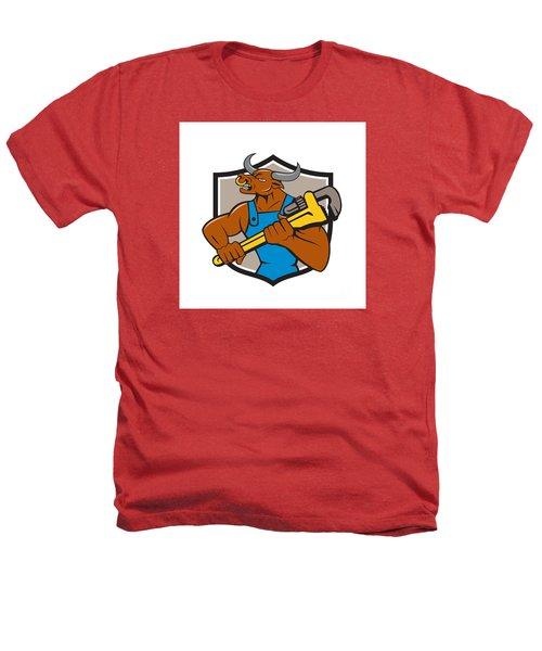 Minotaur Bull Plumber Wrench Crest Cartoon Heathers T-Shirt by Aloysius Patrimonio