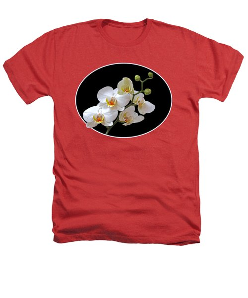 Orchids On Black And Orange Heathers T-Shirt by Gill Billington
