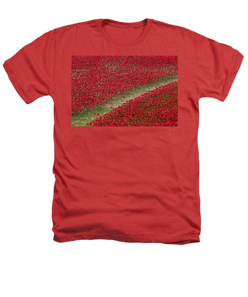 Poppies Of Remembrance Heathers T-Shirt by Martin Newman
