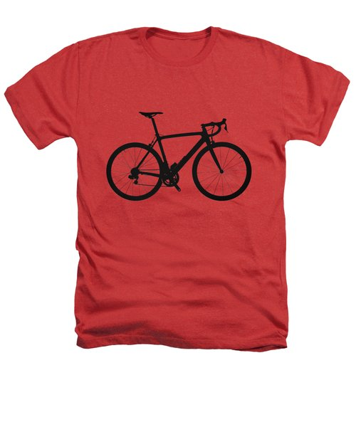 Road Bike Silhouette - Black On Red Canvas Heathers T-Shirt by Serge Averbukh