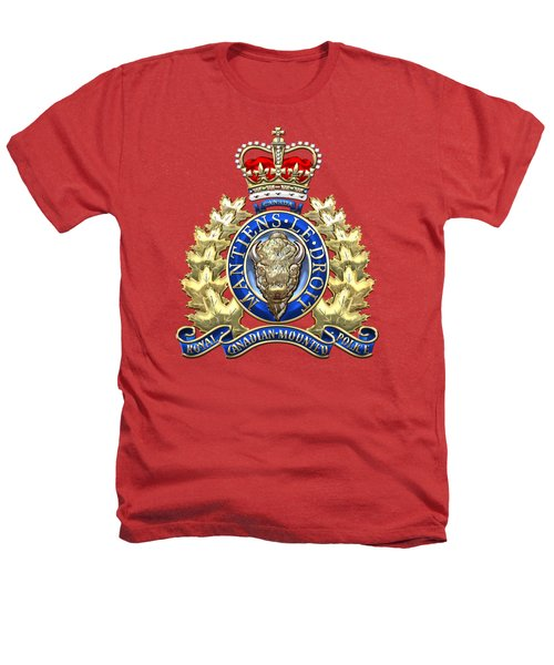 Royal Canadian Mounted Police - Rcmp Badge On Red Leather Heathers T-Shirt by Serge Averbukh