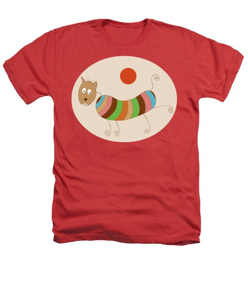 Sausage Dog In Ketchup Sunset Heathers T-Shirt by Frank Tschakert