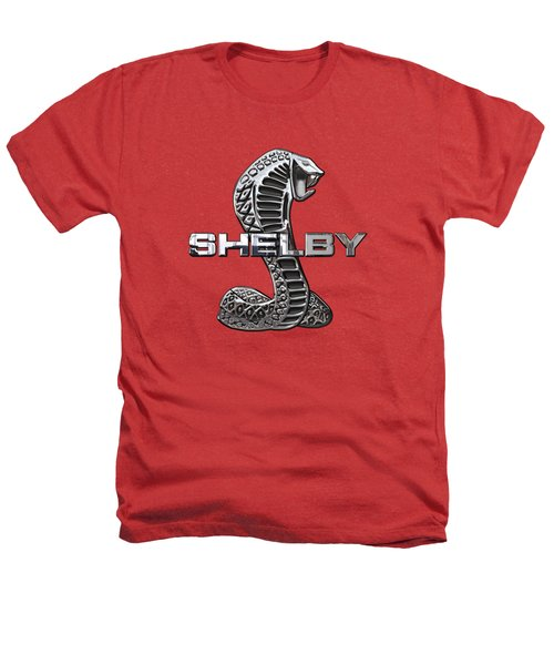 Shelby Cobra - 3d Badge On Red Heathers T-Shirt by Serge Averbukh